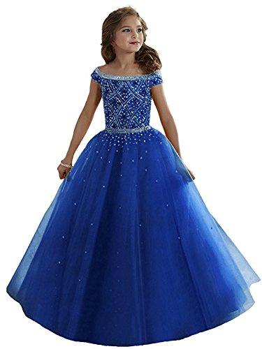 WZY Girls Illusion Rhinestone Beading Ruffled Christmas Ball Gown Princess Pageant Dress (10, Royal ()