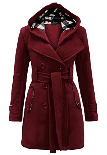 OMZIN Women Casual Duffle Coat Outwear Wool Pea Coat with Belt Wine Red XS