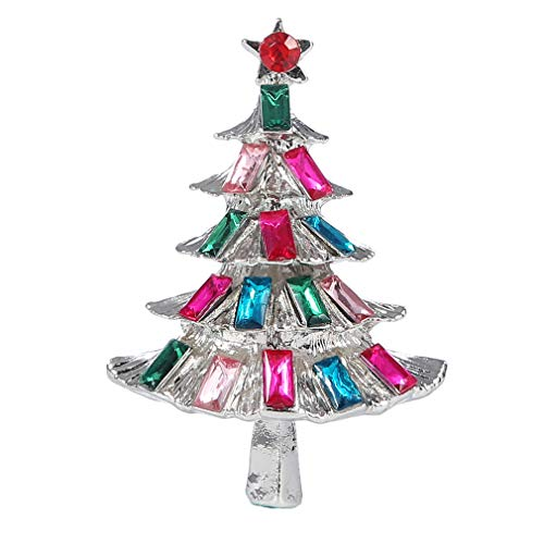 YAZILIND Multi-Colored Rhinestone Christmas Tree Brooch Pin Woman Festive Corsage Xmas Jewelry Gift