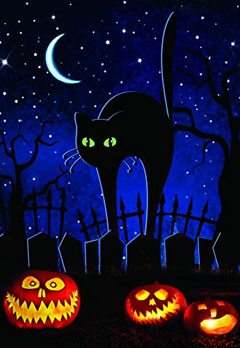 Cute Black Cat with Jack-o'-Lanterns Garden Flag; Halloween Decoration; Double Sided Seasonal Decorative Banner; 12.5 x 18 -