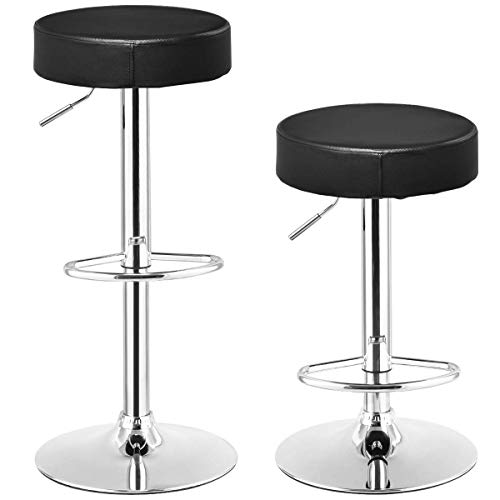 Round Back Swivel Stool - COSTWAY Swivel Bar Stool Round PU Leather Height Adjustable Chair Pub Stool w/Chrome Footrest (Black, 2 pcs)