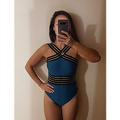 Hilor Women's One Piece Swimwear Front Crossover Swimsuits Hollow Bathing Suits Monokinis at Women's Clothing store