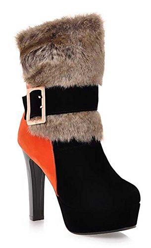 Chfso Donna Sexy Impermeabile Eco-pelliccia Foderato Fibbia Grosso Tacco Alto Piattaforma Caldo Stivali Invernali Alla Caviglia Nero