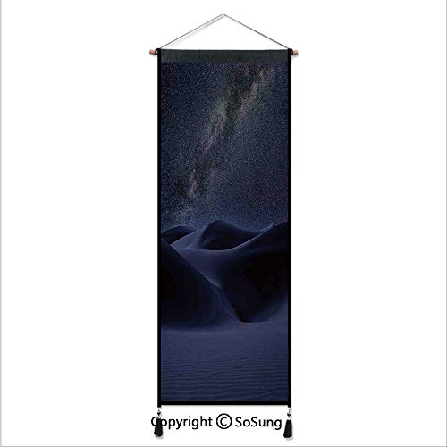(Space Tapestry Wall Hanging,Desert Sand Dunes in Milky Way Stars at Dark Solar Celestial Reflection Over Earth Picture,Home Art Decor Beautiful Apartment Dorm Room)