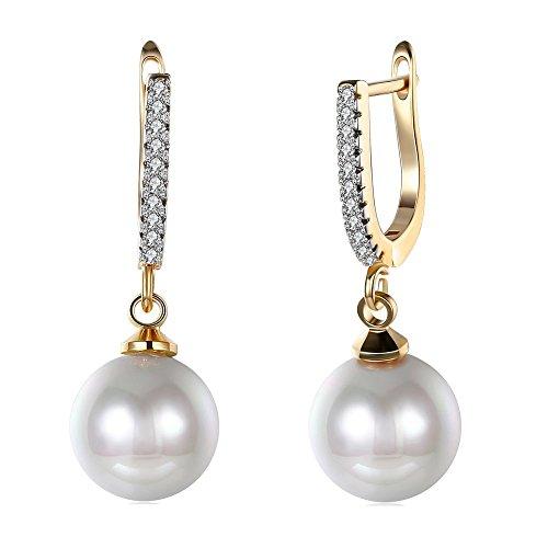 Elegant 18K Gold Diamond Cubic Zirconia Pearl Drop Dangle Earrings For Women Girls Wedding Studs Leverback ()