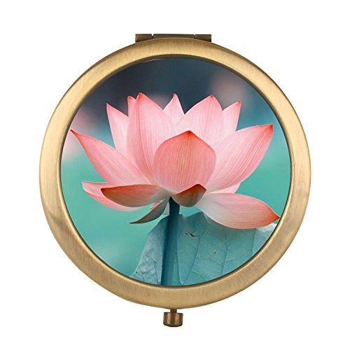 - FUTUROO Rounded Travel Mirror, Personalized Portable Foldable Makeup Mirror with 1x/2x MagnifiLotus Flowerion Mini Size for Personal Use,Camping,Traveling - Retro Bronze Lotus Flower