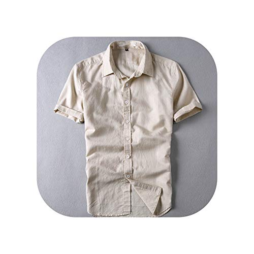 - Trendy Style Linen Shirts Color Short Sleeved Slim Fit Collar Casual,Khaki,Asian Size 4XL