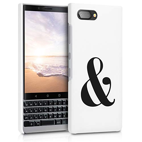kwmobile Case for BlackBerry KEYtwo (Key2) - Hard Plastic Anti-Scratch Shockproof Protective Smartphone Cover - Black/White