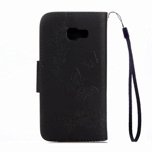 Yiizy Samsung Galaxy A7 (2017) Custodia Cover, Farfalla Fiore Design Sottile Flip Portafoglio PU Pelle Cuoio Copertura Shell Case Slot Schede Cavalletto Stile Libro Bumper Protettivo Borsa (Nero)