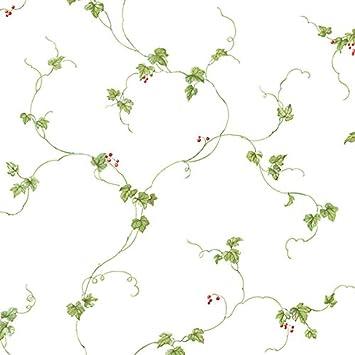 Carta da parati country edera rampicante verde con bacche rosso su ...