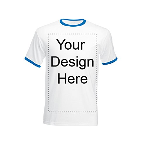Add Your Own Personalized Message or Image Custom Text Name Men Ringer T-Shirts, Mens-White/Royal-XLarge