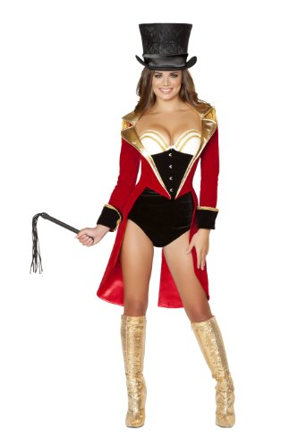 Ringmaster Costume Whip (Roma Costume Women's 5 piece Naughty Ringleader, Black/Red, Small)