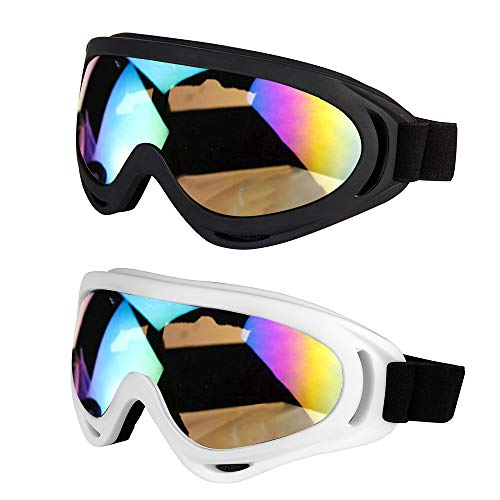 LJDJ Ski Goggles Motorcycle Goggles - Snowboard Glasses Set of 2 - Dirt Bike ATV Motocross Anti-UV Adjustable Riding Offroad Protective Combat Tactical Military Goggles Men Women Kids Youth Adult