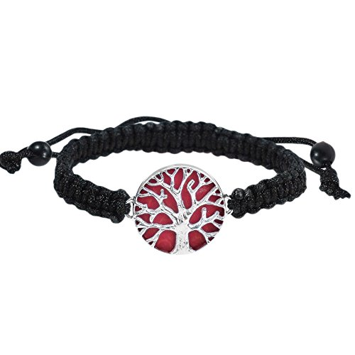 - AeraVida Mystical Tree of Life Reconstructed Red Coral Inlay Adjustable Wrist Pull Bracelet