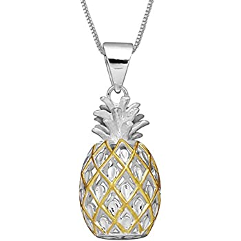 fd2fb55cd Sterling Silver with 14kt Yellow Gold Plated Accents Large Pineapple  Pendant Necklace, 16+2