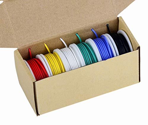 20awg Electronics Wire, Colored Wire Kit 20 Gauge Flexible Silicone Wire(6 different colored 23 Feet spools) 600V Insulated Wire High Temperature Resistance ()