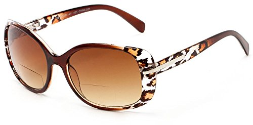 Readers.com The Cassia Bifocal Sun Reader +2.50 Brown Leopard with Amber Colorful Animal Print Bifocal Sunglasses for Women Rectangle Reading Glasses Amber Leopard