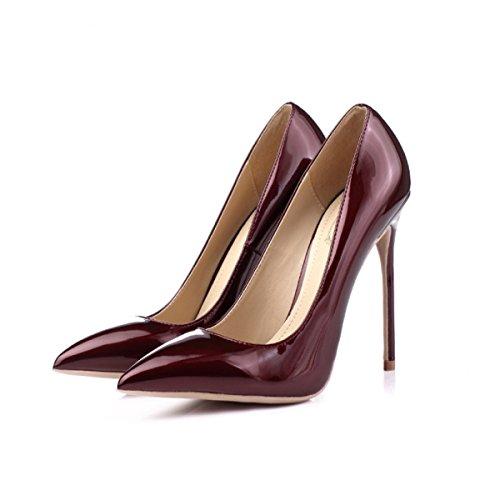 Pointu Mesdames Parti PU Chaussures Bout Sexy Printemps Pompes Talons Femmes 12cm Hauts Belle Bridal à vHZwR