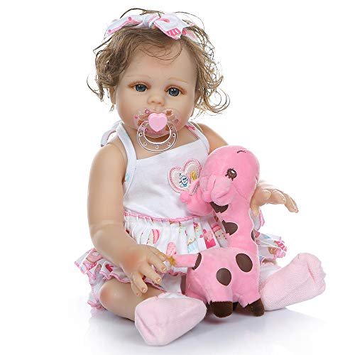 (iCradle Full Body Silicone Vinyl 18''45cm Bebe Doll Reborn Baby Girl Bath Toy Hand-Rooted Curly Hair Waterproof Anatomically Correct)