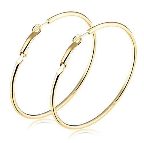 Mintik Women's Hoop Earrings Gold Tone 40mm 50mm 60mm 70mm Full Circle Hoop Earrings (Gold Mm Hoops 60)