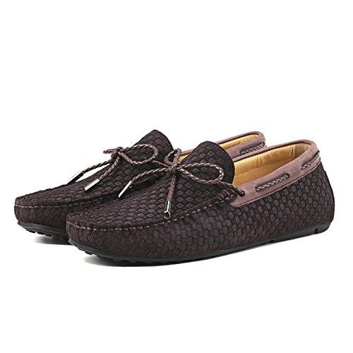Hombre Cordones con Shenduo Mocasines Marrón de Zapatos D7166 Gamuza Moda Cómodos de para Hombre TqT0PYw