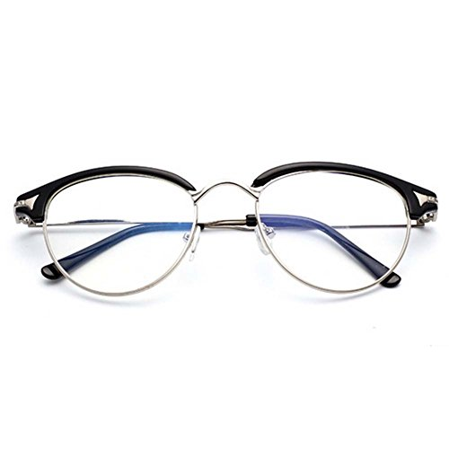G&T Unisex Retro Fashion Metal Frame Anti-blue Clear Lens College Style Plain - Tint Blue Seeing