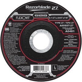 FlexOVit Wheel Cutoff 4-1/2''X.045''X7/8'' Type 27 A60Sst-27 Razorblade 27 Long Life Metal Stainless For Angle Grinder For Cutoff Only Do Not Grind Depressed Center -1 Box of 25