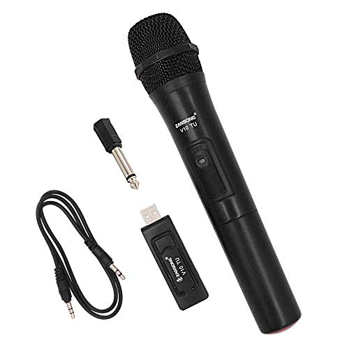 MicVista WM02 Handheld Wireless Microphone, Dynamic Cordless Vocal Microphone with USB Plug Receiver for Karaoke, Party, Wedding, Churching, Stage Performance, Presentation