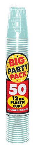 Big Party Pack Robin's-Egg Blue Plastic Cups, 12 Oz., 50 Ct.