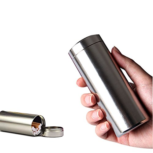 Large Aluminum Cigarette Case Jar - Ehonestbuy Waterproof Round 100's Cigarettes Box Pocket Bottle