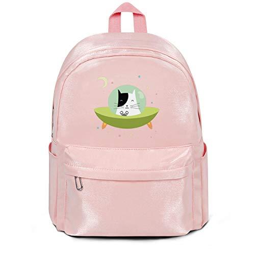 SHUANG93BA Cartoon Cat Spacecraft Ladies & Men's Backpack DurableFunny School - Spacecraft Cat