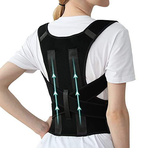 Posture Corrector for Women and Men, Adjustable Breathable Back Straightener, Upper Back Brace for Clavicle Support and Providing Pain Relief from Neck, Back & Shoulder Black S