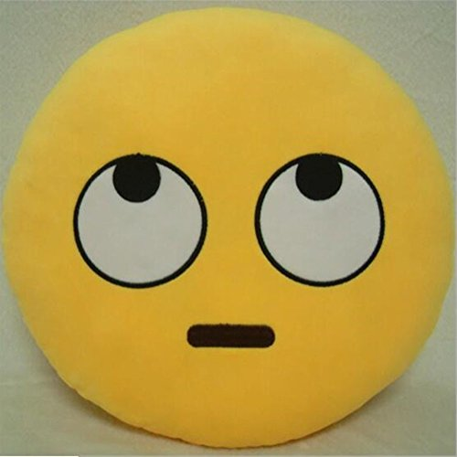 WayOn 32cm Emoji Smiley Emoticon Yellow Round Cushion Pillow Stuffed Plush Soft Toy Doll Gift Car Home Office Accessory