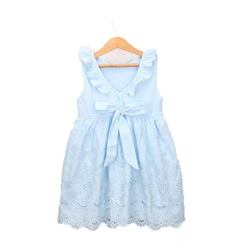 Cotton Girls Dress Baby Girls Clothing Casual Sundress Sleeveless V Back with Bow Princess Dress Elegant Party Dress Sky Blue 24M