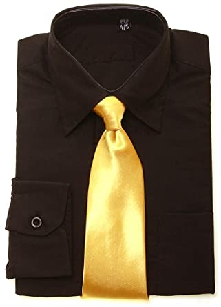 Boys Black Shirt Gold Tie Size 13 14 Years