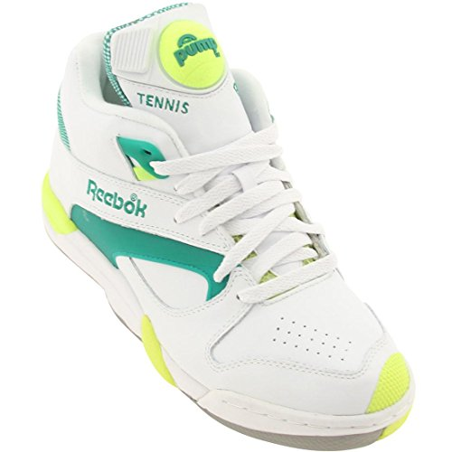 Reebok Court Victory Pump Tennis Shoe,White/Green/Citron,8 M US Men's/9.5 M US Women's