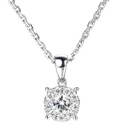 (Unique 18k platinum four-claw set diamond pendant true diamond necklace clavicle chain lady birthday gift present necklace for women)