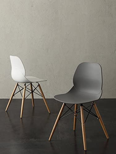 La Seggiola Shell Wood Struttura A Traliccio in Faggio Set Sedia di Design 2Pz Art.022 Seduta in Polipropilene Grigio Quarzo