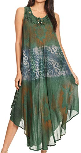 Sakkas 17115 Laramie Short Sleeve Stonewashed Ethnic Print Dress with Embroidery - Dark Green - OS ()