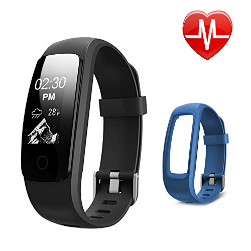 Fitness Tracker Heart Rate, Letsfit Bluetooth Activity Tracker Watch with Full Touch Screen, Sleep Tracker Calorie Counter Pedometer Watch with Replacement Band for Android & IOS