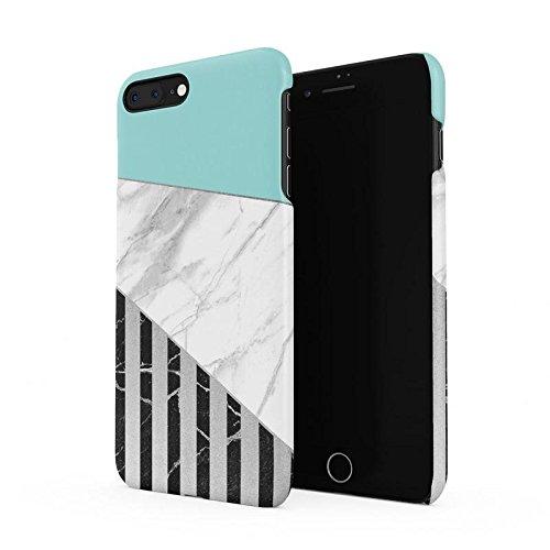 White & Black Striped Marble & Mint Blocks Hard Plastic Phone Case For iPhone 7 Plus & iPhone 8 Plus