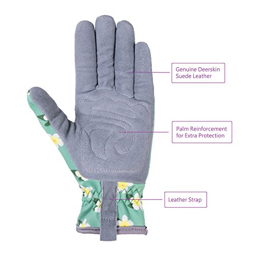 SKYDEER Womens Gardening Gloves with Deerskin Leather Suede for Yard Work, Rose Pruning and Daily Work by SKYDEER (Image #2)