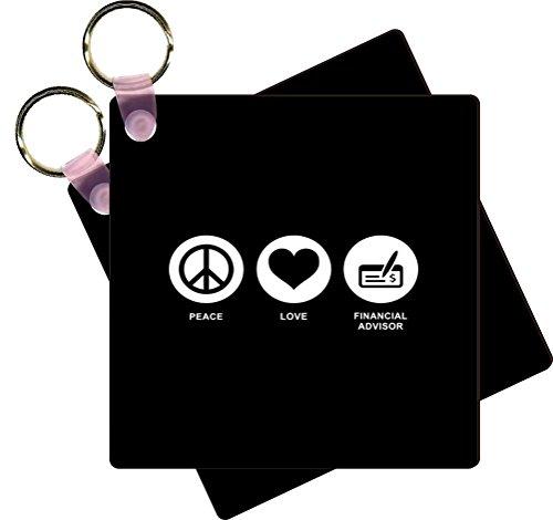 Rikki Knight Peace Love Financial Advisor Black Color Design Square Key Chains   Identifier Tags  Set Of 8