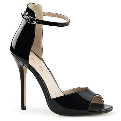 Pleaser Amuse-14 sexy High Heels Riemchen Sandaletten Lack Schwarz 35-45 Übergröße
