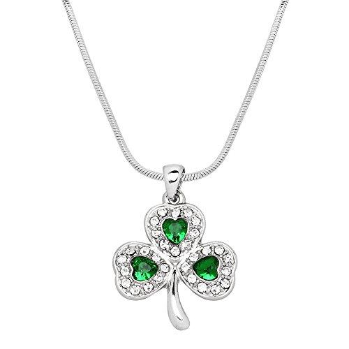 Falari Three Leaf Clover Pave Green Irish Saint St Patricks Day Necklace J0181