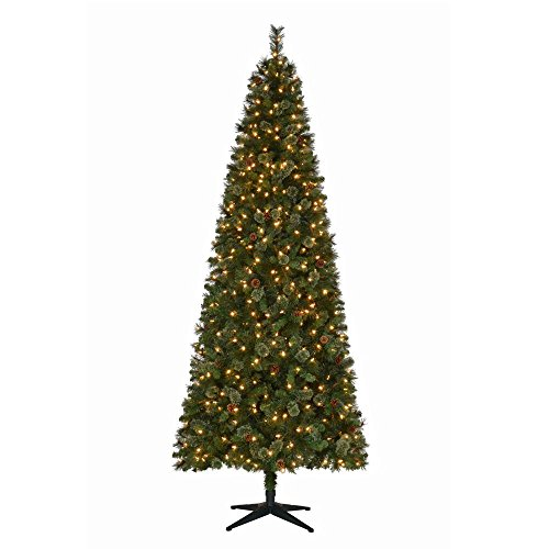 Artificial Christmas Trees Martha Stewart - 9 ft. Pre-Lit LED Alexander Pine Quick-Set Artificial Christmas Tree with Pinecones and Warm White Lights