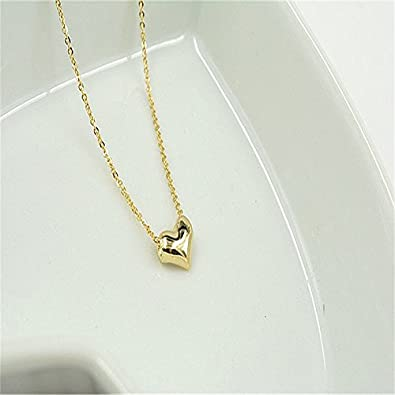 Amazon simple love heart necklace pendents chain jewelry gold simple love heart necklace pendents chain jewelry gold silver women girls golden aloadofball Images