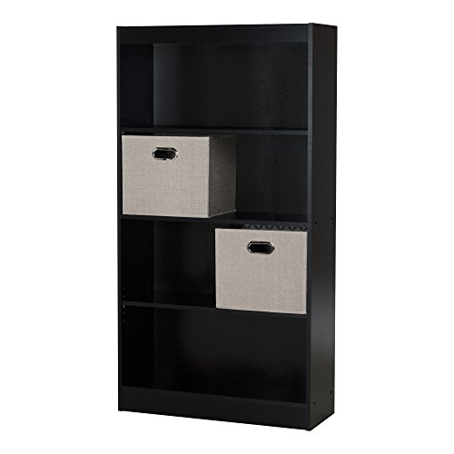 South Shore Axess 4-Shelf Bookcase with 2 Fabric Storage Baskets, Pure Black
