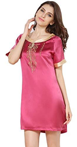 Pink Estivi Donna Collo Manica Eleganti Rotondo Abbigliamento Ricamo Corta Comodo Abito Da Morbidi Notte Sleepwear Corto Nightdress Seta Vintage Vestito Moda f7fra4qwRx