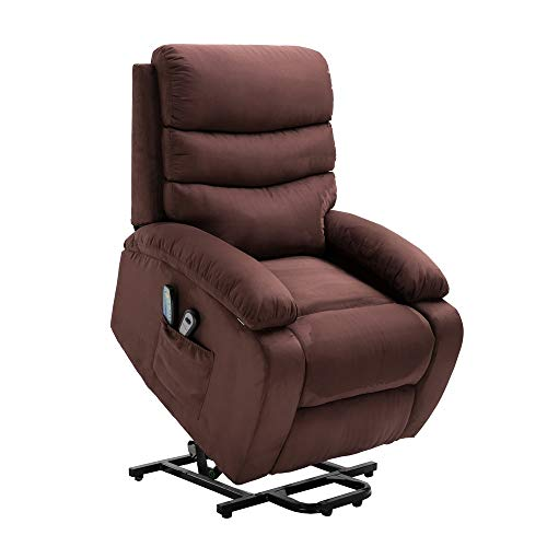 (Homegear Microfiber Power Lift Electric Recliner Chair with Massage, Heat and Vibration with Remote Brown)